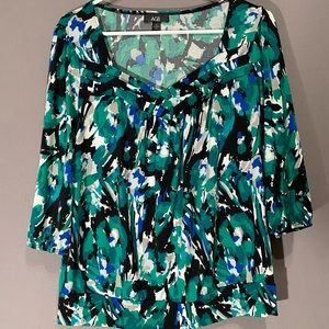 AGB blue and green floral blouse size M